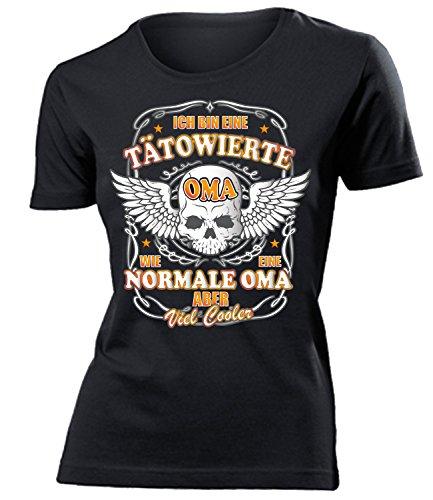 Ich Bin eine tätowierte Oma wie eine Normale Oma Aber viel Cooler 4552 Tattoo Muttertag Damen Fun-T-Shirts Schwarz L