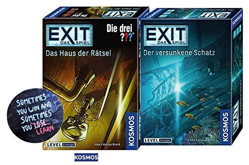 EXIT Kosmos 694050 Spiel - Der versunkene Schatz + Kosmos Spiele 694043 Spiel - Das Haus der Rätsel + 1 Cooler Sticker Sometimes You Win.. by Collectix gratis