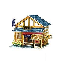 Creative Assemble Puzzle Toys Child Early Education Wooden 3D Puzzle House Japanese Pub