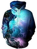 Leapparel Herren Kapuzenpullover Hoodies 3D Galaxy Grafik All-Over Print Pullover mit Tunnelzug und Große Kängurutasche und Fleece-Innenfutter
