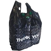 50 x Bolsa de transporte negro para diferenciar estuche de cartón con asa bolsa de plástico Thank YOU 54 x 28 + 12 cm 24my 15L