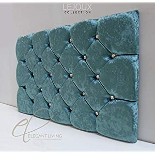 LejouxTM Collection Chester Luxury Designer Headboard Bed Head in Single Double King (Aqua Crushed Velvet, 4ft6 (Double) 30 Inches High)