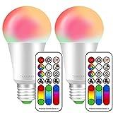 E27 LED RGBW,dimmbarkeit und Farbsteuerung per Fernbedienung,10Watt ersetzt 60Watt,Speicherfunktion farbig,warmweiß Licht 2700 Kelvin,120 Farben,900LM,85CRI Display,LED E27 Farbwechsel,2-er pack