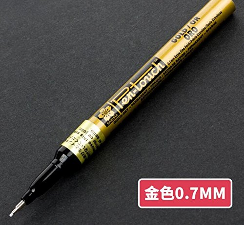 Traders 07mm Gold : SAKURA Pen-Touch Markers Opaque Paintbrush Brush Pens 0.7 mm 1.0 mm 2.0 mm White Gold Silver Japan