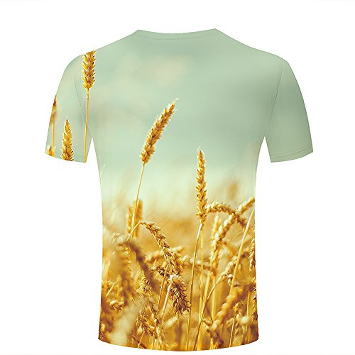 ouzhouxijia Mens T-Shirts 3D Printed Autumn Harvest Graphic Couple Tees B