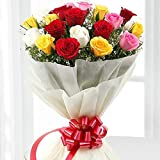 Golden Cart Fresh Flower Delivery of Garden Fresh ROSES FRESH FLOWER BOUQUET to Convey that 'special feeling' of 'Pure love and Commitment' to your loved ones (Bunch of 8, Mix)