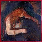 Edvard Munch Poster Kunstdruck und Kunststoff-Rahmen - Vampir, 1895 (40 x 40cm)