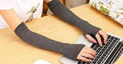 New Akira 34*18cm Long Sleeve Striped Fingerless Gloves Lady Stretchy Soft Knitted gloves (Dark Gray)
