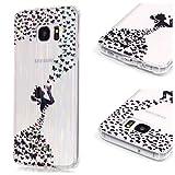 LaiXin Hülle Case für Samsung Galaxy S7 , Kratzfeste Plating TPU Case für Samsung Galaxy S7 Case Schutzhülle Silikon Crystal Case Durchsichtig-fee Mädchen Schwarzer Schmetterling Diamant