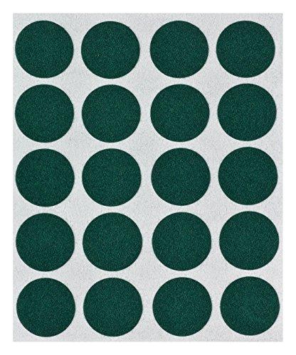 haggiy® Flock-Filz in grün, 0,35 mm Stärke, Durchm. 17 mm, 1 Streifen a' 20 Pads, selbstklebend