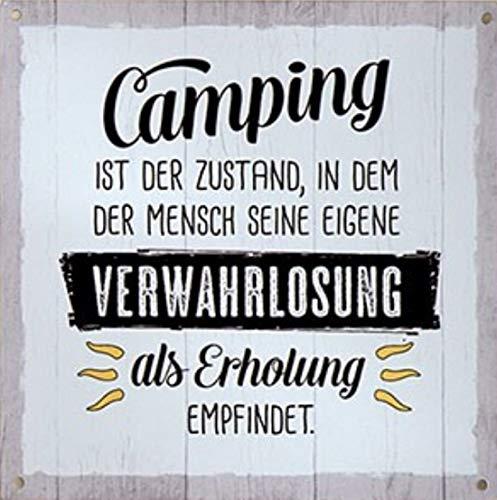 G.H. Vintage Retro Metallschild, Modell: Camping IST DER Zustand, Maße 19 x 19 cm, weiß, ideal für Camper, Zelter, Caravaner, Wohnmobilisten, oder einfach Zuhause.
