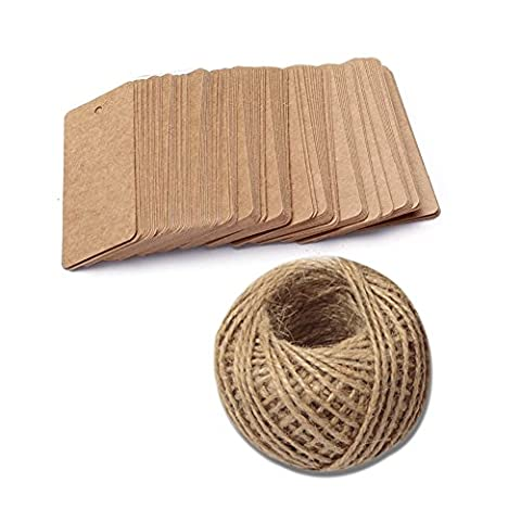 100 PCS Kraft Paper Gift Tags, Rectangle Wedding Favor Tags, Luggage Tag, Craft Hang Tags Bonbonniere Favor Gift Tags with 100 Feet Jute Twine (Brown) - Mason Spago