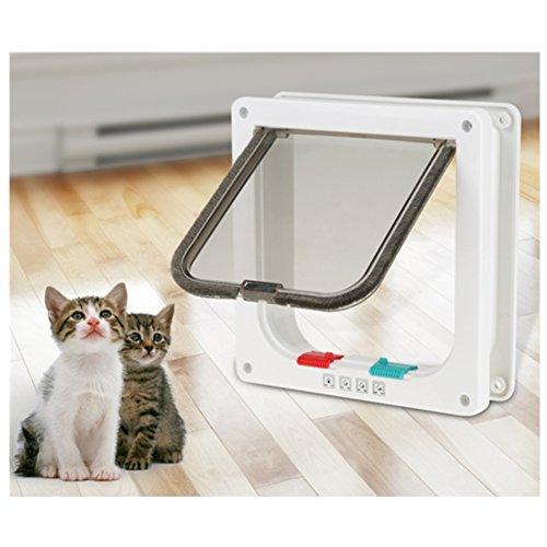 chatière para gato, puerta de gato inteligente chatière con cerradura con 4modos de cierre salida acceso libre para pequeño animales perro gato conejo