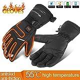 inshias Elektrisch Beheizte Handschuhe Unisex Beheizbare Handschuhe Damen Herren Winterhandschuhe Batterie Angetrieben für Skifahren, Jagen, Angeln, Reiten, Camping
