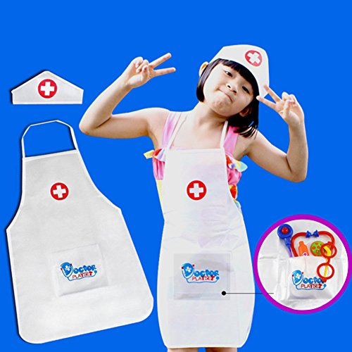 Kinder Krankenschwester Kostüm (Etbotu Kinder Rollenspiel Kostüm Krankenschwester Schürze und Krankenschwester Cap Set Pretend Krankenschwester Spiel für Kinder)