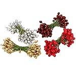 400 Pezzi Multicolore Bacche di Agrifoglio Natale Bacche di Artificiale su 200 Pezzi Steli del Filo per Albero di Natale Decorazione Corona Mestiere Uso Matrimonio Festa Favorire