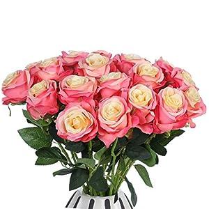 JUSTOYOU – Ramo de rosas artificiales de seda (10 unidades)