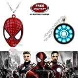 (2 Pcs AVENGER SET) - SPIDERMAN MASK & IRONMAN ARC REACTOR (SLV2) IMPORTED PENDANTS WITH CHAIN. LADY HAWK DESIGNER SERIES 2018. ❤ ALSO CHECK FOR LATEST ARRIVALS - NOW ON SALE IN AMAZON - RINGS - KEYCHAINS - NECKLACE - BRACELET & T SHIRT - C