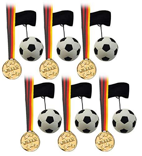 KSS Fußballset 8 X Returnball und 8 X Medaillen für Sportfest Ball an der Schnur , Kindergeburtstag , als Mitgebsel , Mitbringsel , Tombola , Verlosung