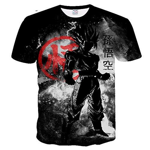 ZCYTIM 3D Druck T-Shirt Männer Neue Dragon Ball T Shirt Schwarz Lustige T Shirts Dragon Ball Z Herren Sommer Mode Frau Kurzarm (Frau Dragon Ball-t-shirts)