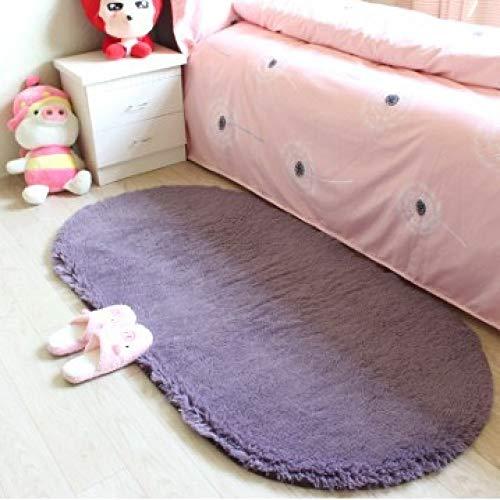 LZYMLG dicken plüsch Schlafzimmer Teppich Wohnzimmer Eingang pad küche Bad rutschfeste bodenmatte Toilette saugfähigen tür Matte grau lila 80 * 120 cm
