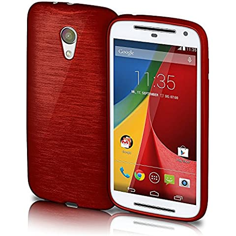 Funda protectora OneFlow para funda Motorola Moto G (2.Generation) Carcasa silicona TPU 1,5mm | Accesorios cubierta protección móvil | Funda móvil paragolpes bolso cepillado aluminio diseño en Crimson-Red