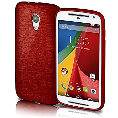OneFlow Protective cover for Motorola Moto G (2.Gen) silicone cover case made from 1.5 mm TPU | Cover accessory to protect your mobile phone | Brushed aluminium-effect bumper case in CRIMSON-RED