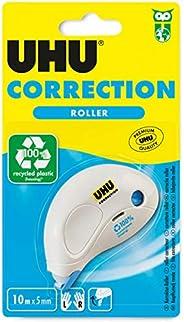 UHU Correction, Roller de correction, Correcteur compact, 10 m x 5 mm, Blanc