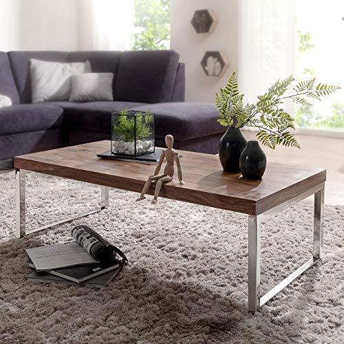 FineBuy Massiver Couchtisch Java 120 x 60 x 40 cm Sheesham Massiv Holz Tisch | Design Wohnzimmertisch aus Massivholz | Beistelltisch Rechteckig Braun -