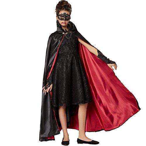 dressforfun 900368 - Edler Vampirumhang für Kinder, ärmelloses Cape zum Schnüren mit fein gearbeiteten Knöpfen und Kette aus Metall auf Kragenhöhe (116 cm | Nr. 301841)