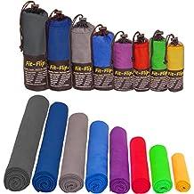 Toalla de microfibra en TODOS los tamaños / 12 colores - compacta, ligera y ultra absorbente - toalla de deporte, toalla de viajes, toalla de baño, toalla de playa, toallas para gimnasio, grande toallas XL (azul con dibujo 50x30cm)