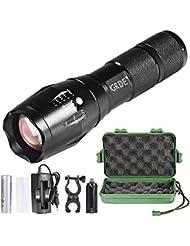 Torche Lampe de Poche LED Zoomable et Rechargeable avec 5 Modes, Super Lumineuse Intensité Ajustable(Pile rechargeable incluse)
