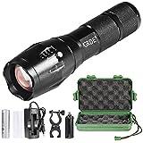 Flashlight,T6 Torcia LED Fuoco Regolabile+Torcia Potente 5 modalità di illuminazione+Torcia Elettrica Con Batteria e Caricabatteria per Caccia Campeggio Escursione (Nero) - QCY - amazon.it