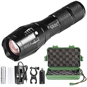 Flashlight,T6 Torcia LED Fuoco Regolabile+Torcia Potente 5 modalità di illuminazione+Torcia Elettrica Con Batteria e Caricabatteria per Caccia Campeggio Escursione (Nero)