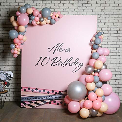 (PuTwo Luftballons 50 Stück Grau Luftballons Luftballons Rosa Latexballons Pfirsich Luftballons Metallic Silber, Helium Luftballons für Baby Shower, Taufe Mädchen, Geburtstag Mädchen, Hochzeit)