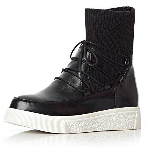 Senhoras Coolcept Sapatos De Plataforma Ocidentais Laços Martin Botas Botas Casuais Pretos