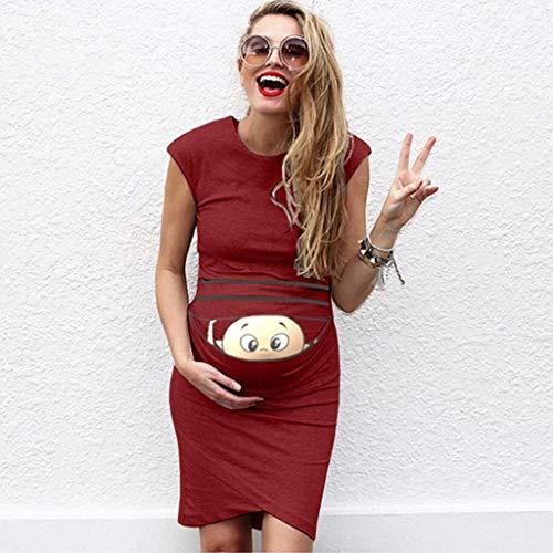 ZHANSANFM Umstandskleid Damen Umstandsmode Lustig Baby Drucken Sommerkleid Vintage Elegant Maternity Dress Ärmellos Beiläufiges Weiches Schwangerschaftskleider Mode Schöne (XL, Wein) (Lustig Maternity Kostüm)