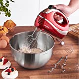 VonShef Professional 300W Hand Mixer, Red, Includes Chrome Beaters, Dough Hooks, Balloon Whisk + 5 Speed With Turbo Button