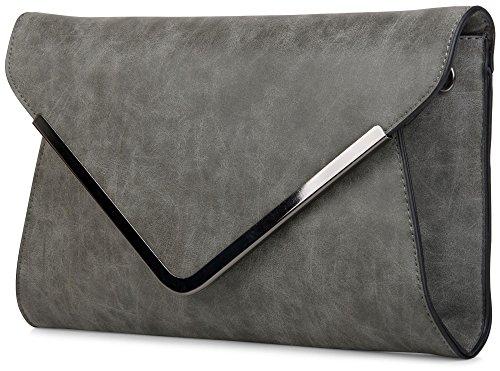 styleBREAKER borsa clutch a busta, borsetta da sera con design a quadri con bretelle e tracolla, donna 02012047, colore:Rosa Grigio scuro