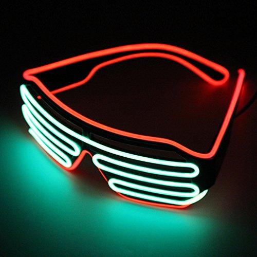 Pretty Smart Glasses Rot & Fluoreszierendes Hot Draht LED Neon Licht bis Shutter geformte Gläser für Kostüm Party