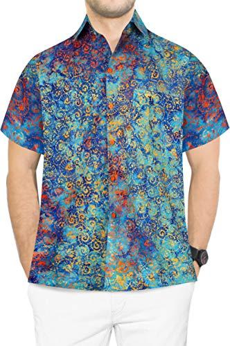 LA LEELA männer Hawaiihemd Kurzarm Button Down Kragen Fronttasche Beach Strand Hemd herrenhemd Urlaub Casual Herren Aloha Türkis_622 L Baumwolle HK216 - Button-down-vintage-shorts
