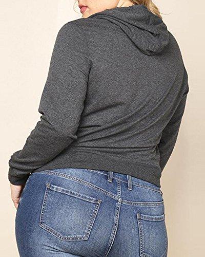 ZhuiKun Femme Manche Longue Lâche À Capuchon T Shirt Blouse Tops Grau