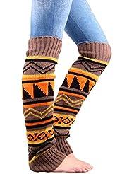UEETEK Mujeres pata punto Boho Crochet largo arranque calcetines calentadores color caqui