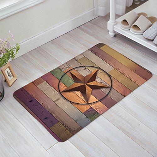 Holz Outdoor-teppich (Roggy Rustikal Vintage Texas Star Barn Colorful Holz-Fußmatte Fußmatte Teppich Outdoor/Indoor für Home Küche Schlafzimmer Size: 18x30Inch(45x75cm))