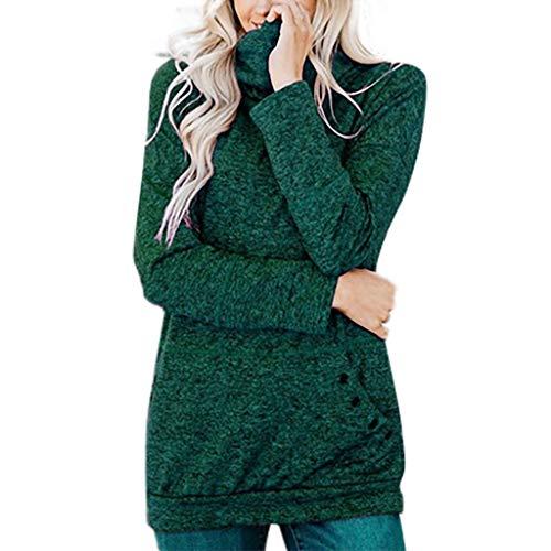 ZHANSANFM Damen Sweatshirt Unifarben Rollkragenpullover mit Taschen Frauen Langarm Lange Sweater Mode Warme Pullover Raglan Patchwork Weiche Oberteile Beiläufiges Elegant Top (2XL, Grün) -