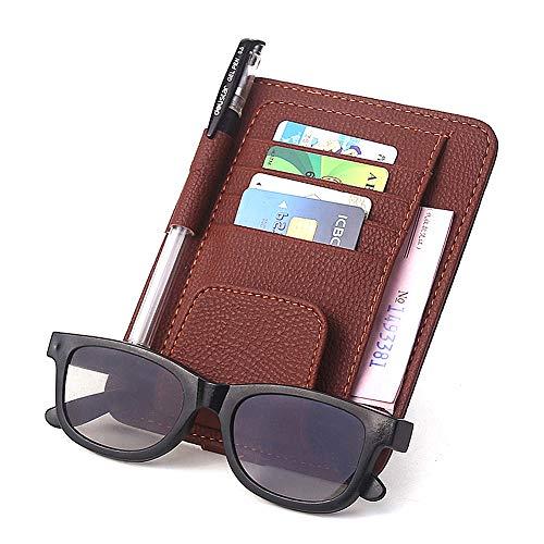 Amorar Auto Sonnenblende Kartenhalter Organizer Stifthalter Sonnenbrille Brillenhalter mit Ticket Card Clip Pu-Leder Sonnenblenden-Halterung Ticket Clip für Karten Parkausweise,EINWEG Verpackung