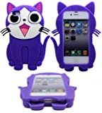 NWNK13� Apple Iphone 4 / 4G / 4S Cute Cats - Teddy - Bee 3D Shapes Design Soft Rubber Silicone Jelly Gel Back Case Cover Plus Screen Protector & Polishing Cloth (Cat - Purple)