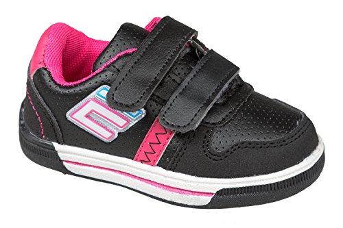 GIBRA® Enfants Baskets Chaussures de sport, avec fermeture velcro, noir/rose, Taille 25–30 Noir - Schwarz/Pink