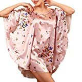 Ladies Dressing Gown 3 Satin Long 4 Unique Stlie Print Sleeves Loose Sleeping Dress Pigiama Accappatoio Notte Calda Sh (Color : Rosa, Size : One Size)