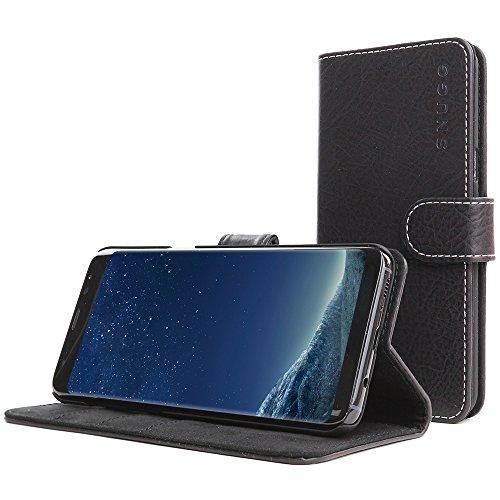 Funda Galaxy S8 Plus, Snugg Carcasa Plegable para Samsung Galaxy S8 Plus [Ranuras para Tarjetas] Cubierta de Cuero con Billetera, Diseño Ejecutivo [Garantía de por Vida] -Negro intenso, Legacy Range